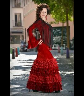 Falda flamenca profesional modelo minivolantes terciopelo
