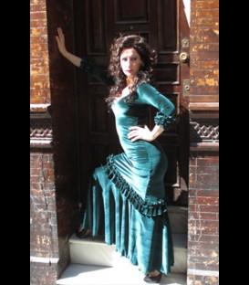 Vestido flamenco profesional 3rush terciopelo aguamarina