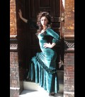 Professional flamenco dress 3rush aquamarine velvet