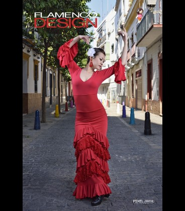 Professional flamenco skirt,modell Sol lycra and lace (5 ruffles)