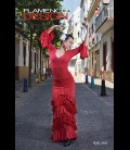 Falda flamenca profesional modelo SOL lycra con encaje (5 volant)