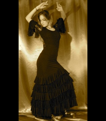 Professional flamenco set (skirt and top) ,modell Sol lycra and lace