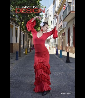 Professional flamenco set (skirt and top) ,modell Sol lycra and lace (5 ruffles)