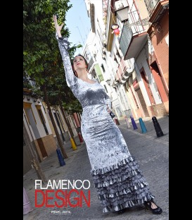 Profesional Flamenco Skirt Minivolantes silver