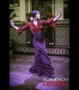 Falda flamenca profesional modelo Carmen negro con rojo