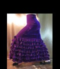 Falda flamenca profesional alegrias terciopelo morado