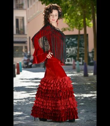 Conjunto flamenco Modelo minivolantes terciopelo