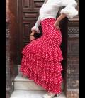 Falda Flamenca profesional Modelo Tulipan lunares rojo