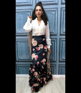 Falda flamenca profesional alegrias terciopelo flores