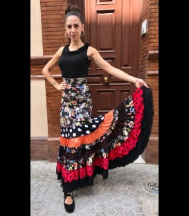 Profesional flamenco skirt Sevilla black/flowers