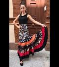 Falda flamenca profesional modelo Sevilla flores negro