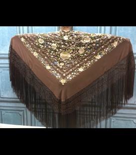 Mantón de seda para bailar en color marrón oscuro (profesional)