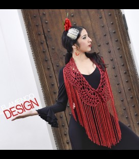 Flamenco crochet shawl in color red