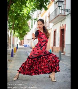 Vestido de flamenco alegrias terciopelo rosa
