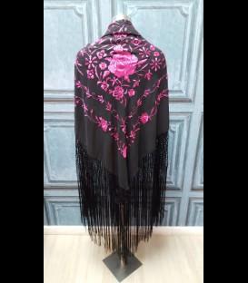 Mantón de seda para bailar en color negro (semi-profesional)