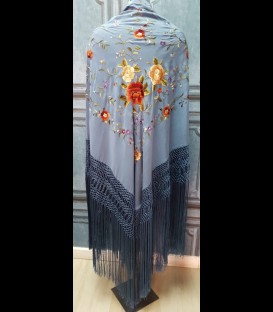 Professional flamenco dancing shawl in color indigo blue