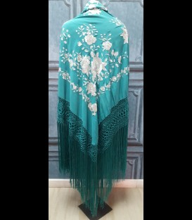 Professional aquamarine flamenco dancing shawl