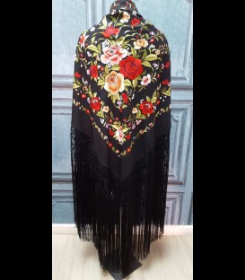 Flamenco dancing shawl professional black with colour