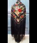 Mantón de seda para bailar en color negro bordado con colores