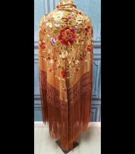 Manton de seda para bailar en color marrón claro (profesional)