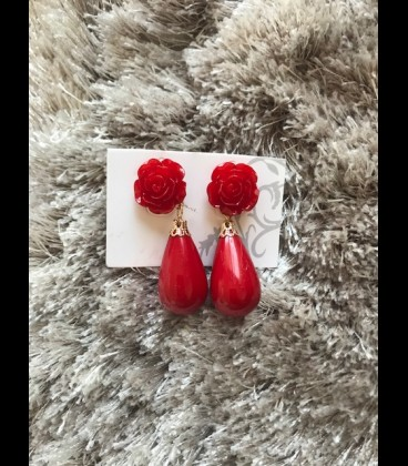 Earring lagrima red/small