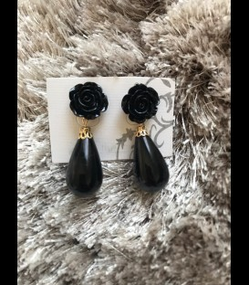 Earring lagrima black/small