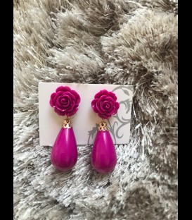 Teardrop earrings in color pink (fuchsia)