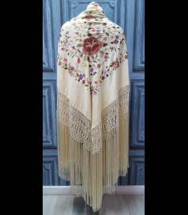 Professional flamenco dancing shawl in color beige