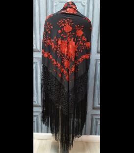 Manton de seda para bailar en color negro y rojo