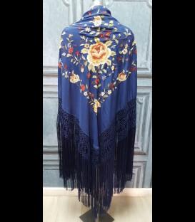 Mantón de seda para bailar en color azul medianoche bordado con flores