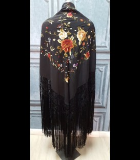 Professional flamenco dancing shawl in color black, embroided in colours