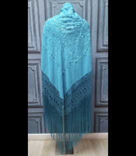Mantón de seda semiprofesional para bailar en color turquesa