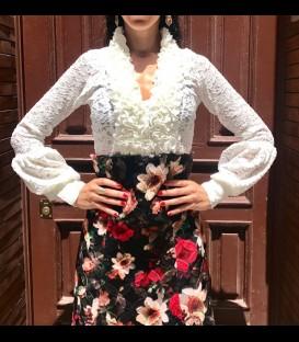 Frilled blouse Carmen Bombache lace beige