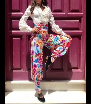 Pantalon de flamenco para ensayo flores blanco
