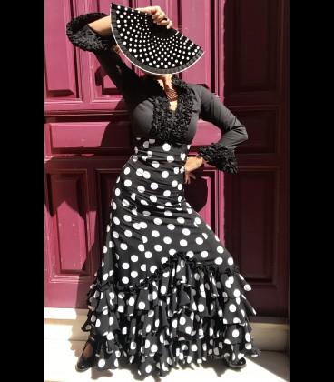 Falda de flamenco profesional モデルカルメン Carmensol negroyblanco