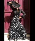 Falda flamenca profesional modelo Carmensol negroyblanco