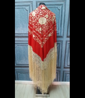 Professional flamenco dancing shawl in color red and gold