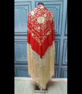 Manton de seda profesional para bailar rojo con oro