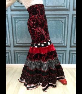 Profesional Flamenco Skirt Sevilla redandblack
