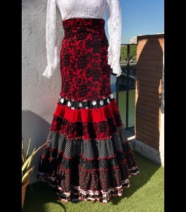 Profesional Flamenco Skirt Sevilla flower beige