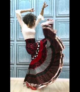 Falda flamenca profesional modelo Sevilla rojonegro