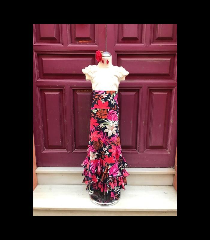marca famosa Últimas tendencias muchos de moda Falda flamenca niña modelo SOL flores ECO