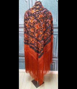 Flamenco dancing shawl professional black with orange