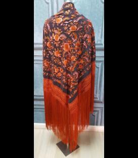 Manton de seda para bailar negro con naranja