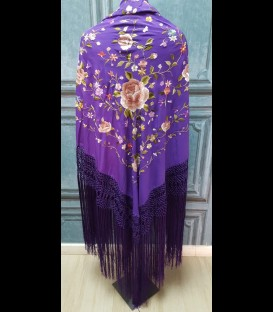 Mantón de seda para bailar morado