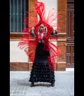 Falda flamenca profesional alegrias terciopelo negro