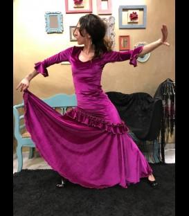 Vestido de flamenco modelo Fiona Rush terciopelo fucsia