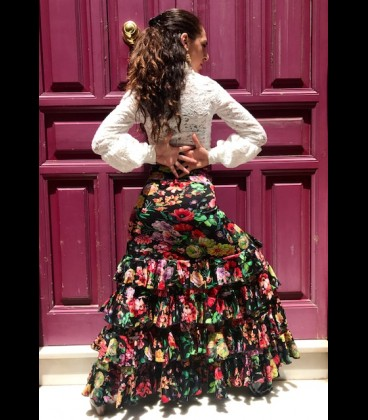 Profesional Flamenco Skirt amanecer flower
