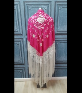 Mantón de seda para bailar en color fucsia-beige (semi-profesional)