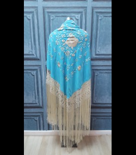 Semi- professional flamenco dancing shawl in color turquise